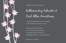 Stylish Pink Floral String In Grey Invitations
