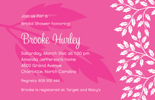 White Breeze Leaves In Pink Background Invitations