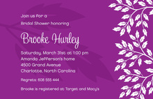 Silhouette Breeze Leaves Modern Purple Invitations