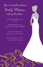 Silhouette Bride Wonderful Flowers Bridal Invitations