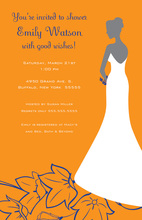 Silhouette Bride Enchanting Flowers Bridal Invitations