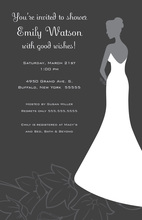 Standing Bride On Flowers In Grey Bridal Invitations