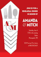 Classy Silverware Bundle Red Rehearsal Dinner Invites