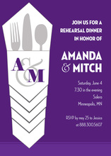 Silverware Bundle Purple Red Rehearsal Dinner Invites