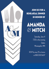 Silverware Bundle Navy Rehearsal Dinner Invitations