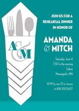 Iconic Silverware Bundle Teal Rehearsal Dinner Invites