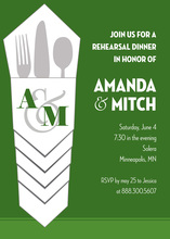 Silverware Bundle Green Rehearsal Dinner Invitations