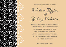 Cream Patterned Flourish Invitations