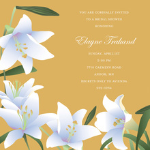 Modern Lilies Square Gold Wedding Invitations