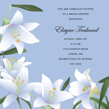 Velvet Lilies Square Blue Wedding Invitations