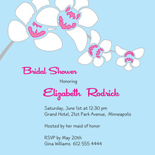 White Orchid In Sky Blue Invitations