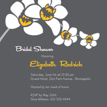 White Orchid Grey Square Bridal Shower Invitations