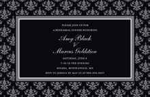 Unique Black Damask Frame Formal Party Invitations