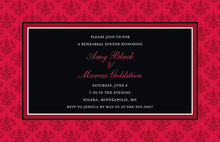 Holiday Red Damask Border Modern Party Invitations