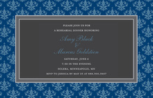 Modern Blue Damask Border Formal Party Invitations