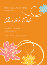 Trendy Floral Breeze In Orange Wedding Invitations