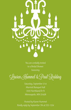 Modern Chandelier Formal Green Rehearsal Invitation
