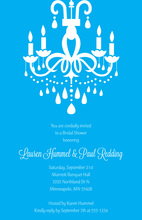Modern Chandelier Charming Blue Background Invitation
