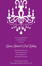 Modern Stylish Chandelier Purple Rehearsal Invitations