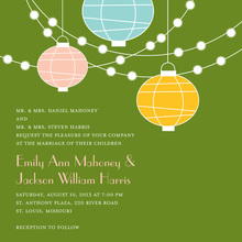 Light Lantern Glow Green Background Invitations