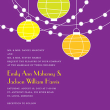Light Lantern Glow Purple Background Invitations