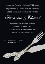 Formal Modern Cutlery Black Rehearsal Invitations