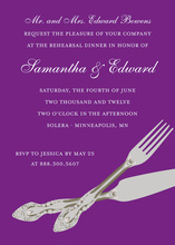 Traditional Cutlery In Purple Rehearsal Invitations