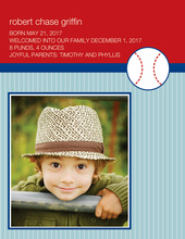 Baseball Baby Photo Card Announcements