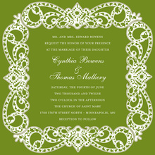 Elegant Victorian Frame Green Bridal Shower Invites
