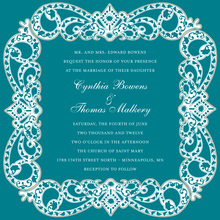 Elegant Vine Designs Teal Square Invitations