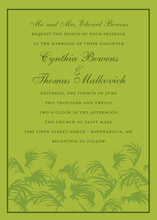Traditional Palms Lime Green Invitation