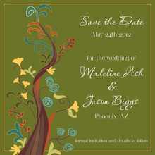 Abstract Vines Green Save The Date Invitations