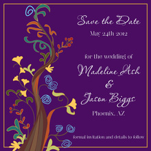 Abstract Vines Purple Save The Date Invitations