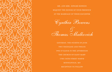 Beautiful Gated Dove Design Orange Wedding Invitation