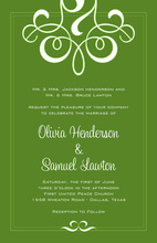 Classic Flourish Green Invitations