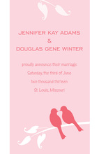 Charming Pink Loving Birds Wedding Shower Invites
