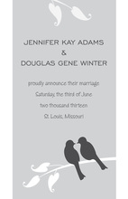 Playful Grey Two Love Birds Wedding Shower Invitations