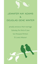 Illustrated Green Lovely Birds Wedding Invitations