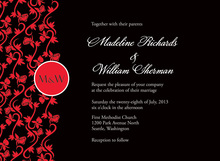 Monogram Formal Holiday Red Vines Invitations