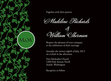 Formal Green Vines Modern Monogram Wedding Invites