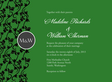 Formal Vines On Green Wedding Shower Invitations