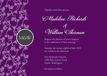 Formal Vines Monogram On Purple Wedding Invitations