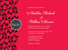 Formal Vines Monogram On Red Wedding Invitations
