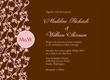 Formal Vines Monogram On Chocolate Invitations