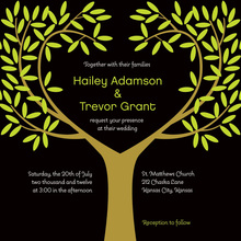Tree Leaves Black Wedding Invitations