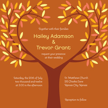 Tree Leaves Orange Fall Spirit Wedding Invitations