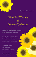 Yellow Floral In Modern Purple Classic Invitations