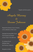 Modern Orange Floral In Charcoal Stylish Invitations