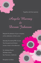 Classy Pink Floral In Charcoal Wedding Invitations