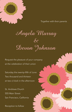 Traditional Pink Floral In Brown Wedding Invitations